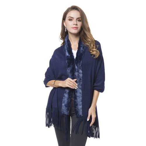 Designer Inspired-Navy Colour Faux Fur Wrap with Tassels (Size 170X65 Cm)
