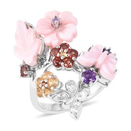 Jardin Collection - Pink Mother of Pearl, Amethyst, Citrine, Mozambique Garnet and Natural White Cam