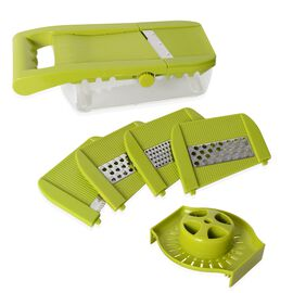 Set of 7 Green Colour Multi-Functional Adjustable Shredder including 1 Food Container,1 Butting Boar