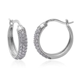 ELANZA Simulated Diamond Hoop Earrings in Rhodium Plated Sterling Silver