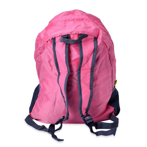 Set of 2 - Pink Colour Foldable Backpack and Grey Colour Storage Bag (Size 44x30x13 Cm, 26.5x16x9.5 Cm)