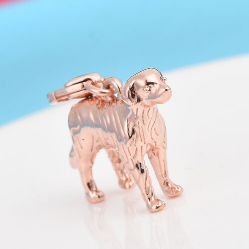 Rose Gold Overlay Sterling Silver Dog Charm