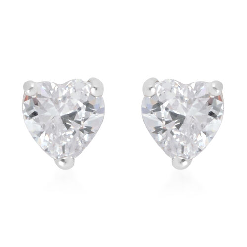 3 Piece Set - Cubic Zirconia Earrings in Rhodium Plated Sterling Silver