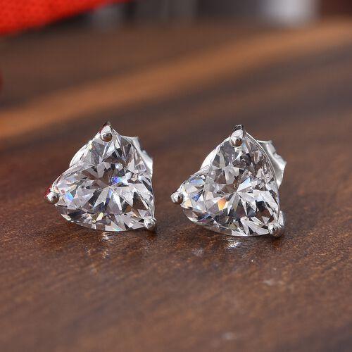 J Francis Made with SWAROVSKI ZIRCONIA Heart Stud Earrings in Sterling Silver