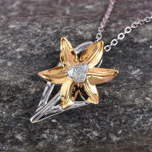 Platinum and Yellow Gold Overlay Sterling Silver Floral Pendant with Chain (Size 20)