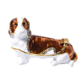Multi Austrian Crystal Studded Enamelled Dog Trinket Box