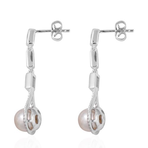 Japanese Akoya Pearl (Rnd), White Topaz Drop Earrings (with Push Back) in Rhodium Overlay Sterling Silver