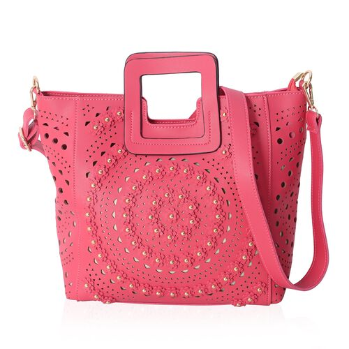 Fuchsia Colour Tote Bag with Flower and Stereoscopic Circles Pattern with Removable Shoulder Strap (Size 34x28x24.5x12 Cm)