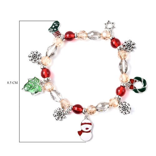 Simulated Multi Gemstone Beads Enamelled Stretchable Bracelet (Size 7) with Christmas Theme Charms in Silver Tone