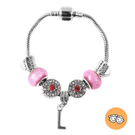 L Initial Charm Bracelet for Children in Simulated Pink Colour Bead, Red and White Austrian Crystal