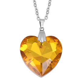 Clost Out- Simulated Yellow Sapphire (Hrt 27mm) Pendant With Chain in Stainless Steel