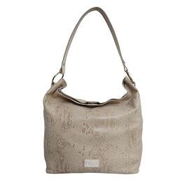 Assots London ESME Genuine Suede Leather Python Print Hobo Bag - Cream