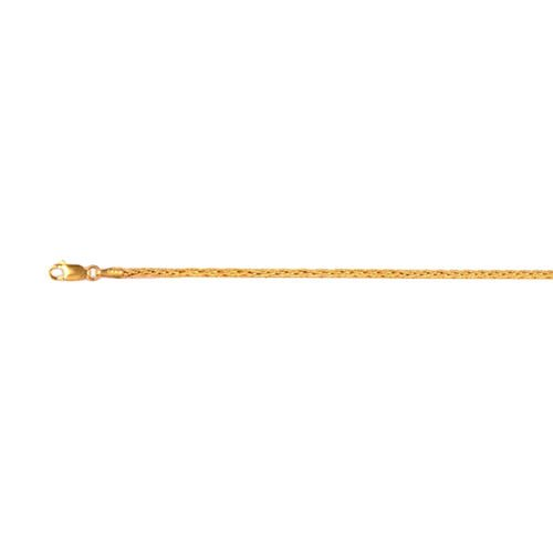 Vicenza Collection Spiga Chain Necklace with Lobster Clasp in 9K Gold 20 Inch