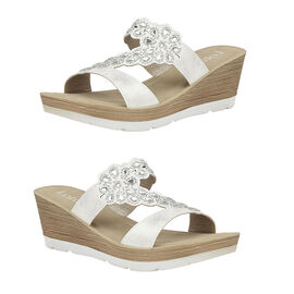 Lotus White Catania Wedge Mule Sandals