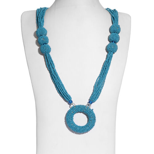 Teal Colour Seed Beads Necklace (Size 30 with 2 inch Extender) in Silver Tone