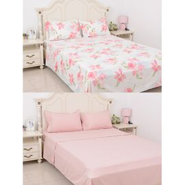 8 Piece Set 2x Fitted Sheet, 2x Flat Sheet and 4x Pillow Case Set (Size Double) Pink