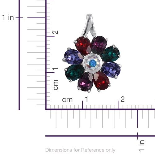 J Francis Crystal from Swarovski - AB Colour Crystal (Rnd), Tanzanite, Light Siam, Emerald and Amethyst Colour Crystal Floral Pendant in Platinum Overlay Sterling Silver