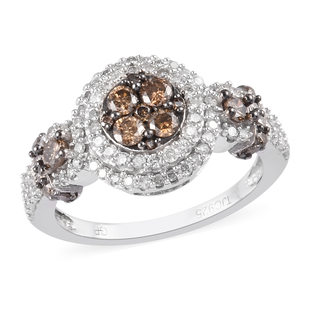 GP Champagne and White Diamond, Blue Sapphire Ring in Platinum Overlay Sterling Silver 1.02 Ct.