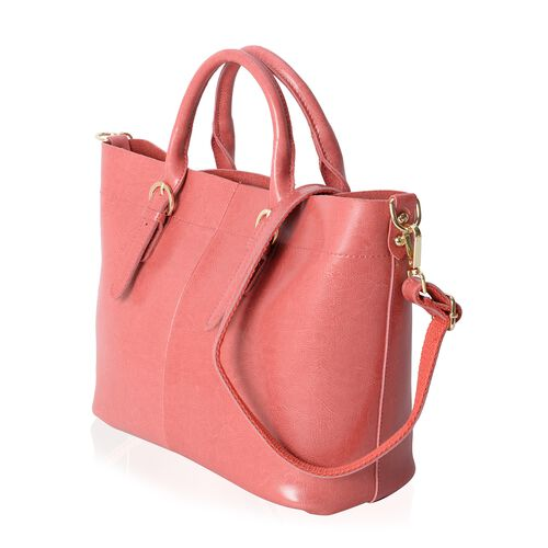 100% Genuine Leather Peach Colour Tote Bag with Removable Shoulder Strap (Size 38x32x24x13 Cm)