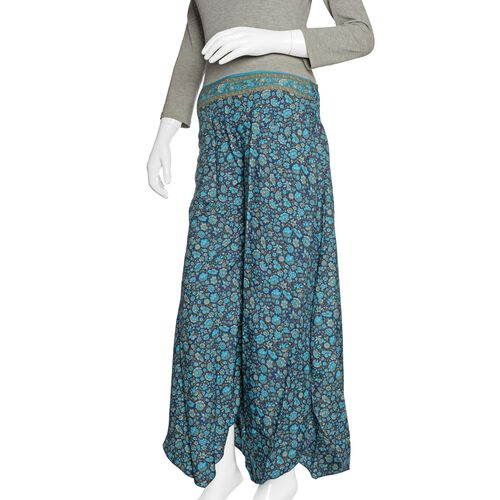 Blue, Aqua and Multi Colour Floral Printed High Waist Fold Over V Cut Palazzo Trouser (Free Size)