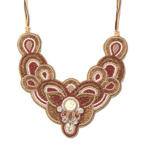Statement Collection- Golden and Multi Colour Beads Adjustable Necklace (Size 16 to 24)