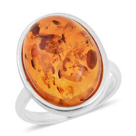 Baltic Amber Oval Sterling Silver Ring