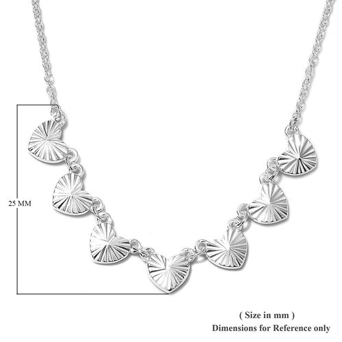 Sterling Silver Station Hearts Necklace (Size 18), Silver wt. 4.40 Gms