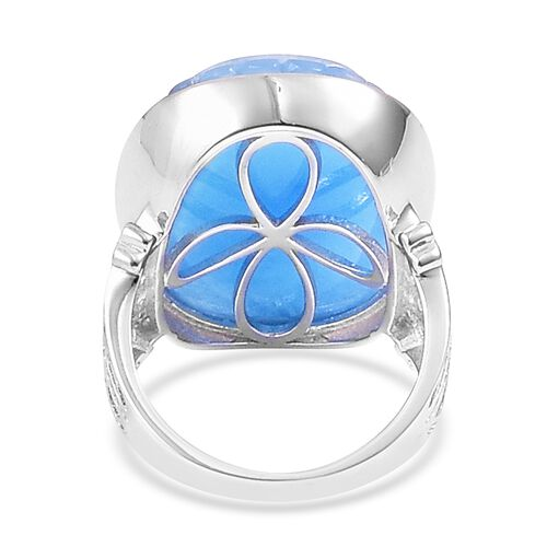 Floral Hand Carved Blue Jade (Ovl), Natural White Cambodian Zircon Ring in Rhodium Plated Sterling Silver 33.330 Ct. Silver wt. 6.85 Gms.