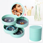 360 Degree Rotatable Round Shape 4 Layer Jewellery Organiser with Mirror (Size 12x12cm) - Sea Green