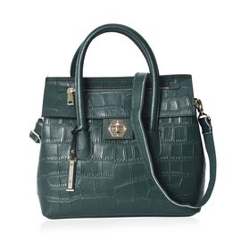 100% Genuine Leather Green Colour Croc Embossed Tote Bag with Removable Shoulder Strap (Size 32x13x3
