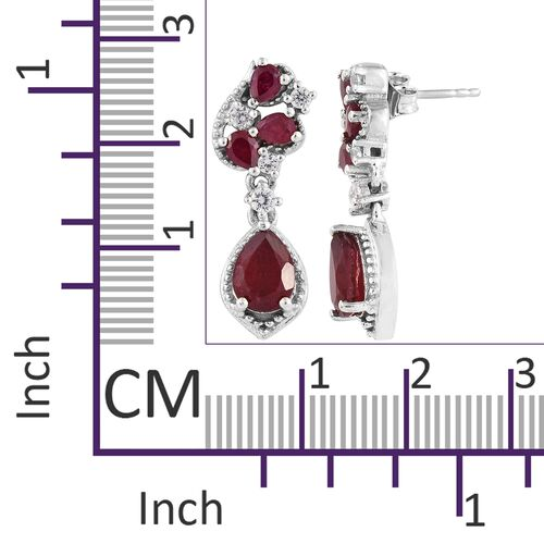 African Ruby (Pear), Natural Cambodian Zircon Earrings (with Push Back) in Platinum Overlay Sterling Silver 5.250 Ct. Silver wt 5.09 Gms.