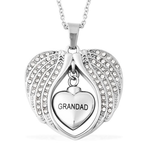 White Austrian Crystal Grandad Angel Wing Heart Memorial Urn Pendant with Chain (Size 20) in Stainle