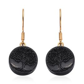 Elite Shungite Life of Tree Hook Earrings in Yellow Gold Overlay Sterling Silver 10.680 Ct.