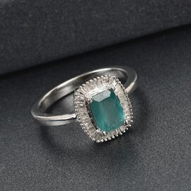 Grandidierite and White Diamond Ring in Platinum Overlay Sterling Silver 1.05 Ct.