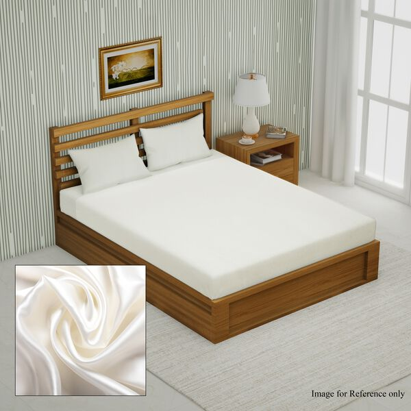 100% Top Mulberry Silk Fitted Sheet Infused with Hyalu & Argan Oil(Size 140x190+30 Cm) - Off White