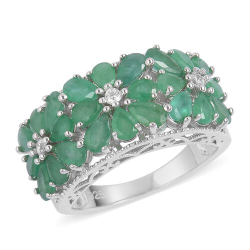 Kagem Zambian Emerald (Pear), Natural White Cambodian Zircon Floral Ring in Platinum Overlay Sterling Silver 4.100 Ct, Silver wt 5.21 Gms.