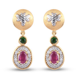 GP Italian Garden Leaf and Flower - Russian Diopside, African Ruby, Natural Cambodian Zircon and Blu