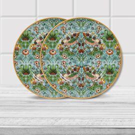Set of 2 - Lesser & Pavey - Willam Morris Strawberry Thief Teal Plates