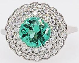 RHAPSODY 950 Platinum AAAA Boyaca Colombian Emerald (RD 8.00mm 2.00 Ct.) and Diamond (VS/E-F) Ring 2