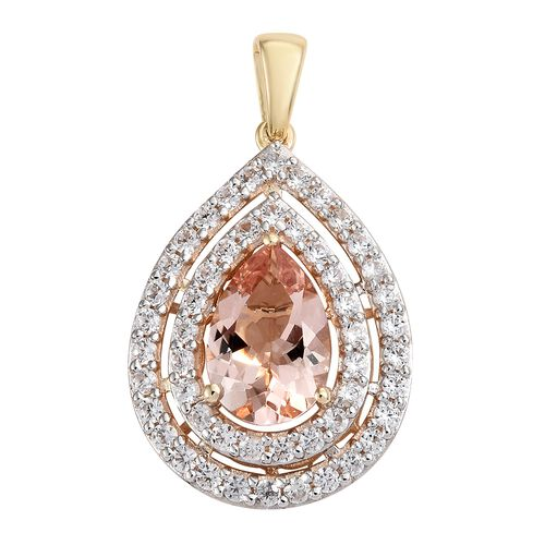 9K Yellow Gold AAA Marropino Morganite (Pear 2.50 Ct), Natural Cambodian Zircon Drop Pendant 4.000 Ct.