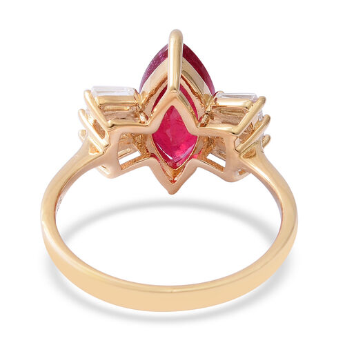 African Ruby (Mrq 3.80 Ct), Natural White Cambodian Zircon Ring in Yellow Gold Overlay Sterling Silver 4.900 Ct.