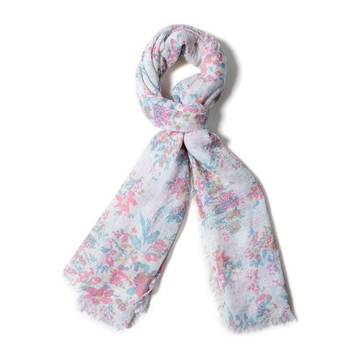 Cream, Brown and Multi Colour Small Flower Pattern Scarf (Size 180x90 Cm)