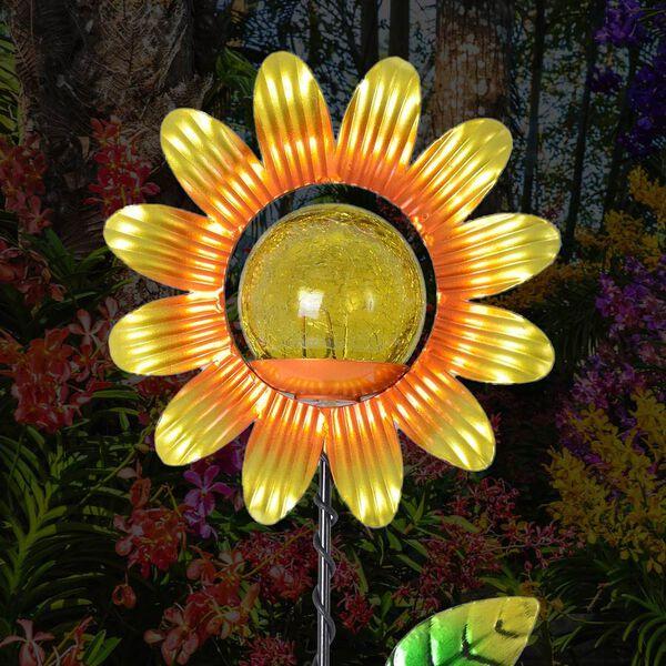 Set of 2 - Solar Powered Sunflower Shape Stake Light (Length 60 Cm) - Yellow and Black