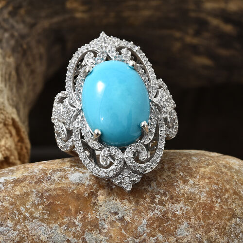 Extremely Rare- Arizona Sleeping Beauty Turquoise (Ovl 18X13), Natural White Cambodian Zircon Cluster Ring in Platinum Overlay Sterling Silver 10.500 Ct, Silver wt 8.73 Gms, Number of Gemstones -157.