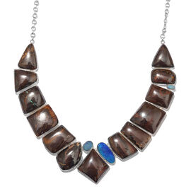 Opal Rock and Opal Double Statement Necklace in Silver 44.25 Grams 18 with 1 inch Extender