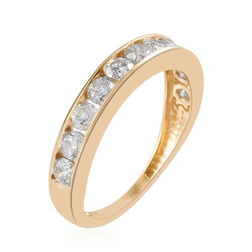9K Yellow Gold SGL Certified Diamond (I3/G-H) Half Eternity Band Ring 1.05 Ct.
