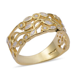 ELANZA Simulated Diamond (Mrq) Ring (Size O) in Yellow Gold Overlay Sterling Silver, Silver Wt. 3.34 Gms.