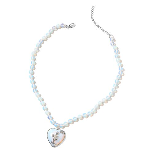 Opalite Heart Necklace (Size 20) in Silver Tone 198.500 Ct.