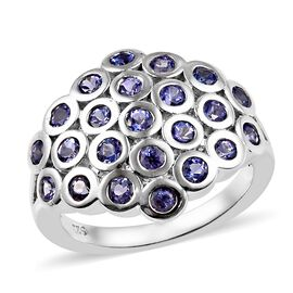 Tanzanite (Rnd) Circle Cluster Dome Ring (Size V) in Platinum Overlay Sterling Silver 1.50 Ct.