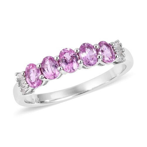1.03 Ct AA Pink Sapphire and Diamond 5 Stone Ring in 14K White Gold 4.8 Grams